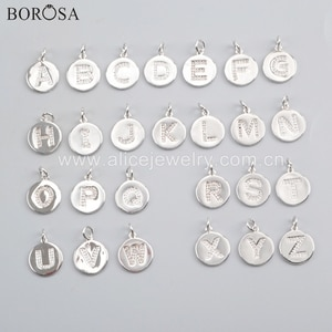 BOROSA 20PCS 15mm Silver Color Round Brass CZ Micro Pave Letter Pendant Beads for Necklace Jewelry for lady Man WX1072