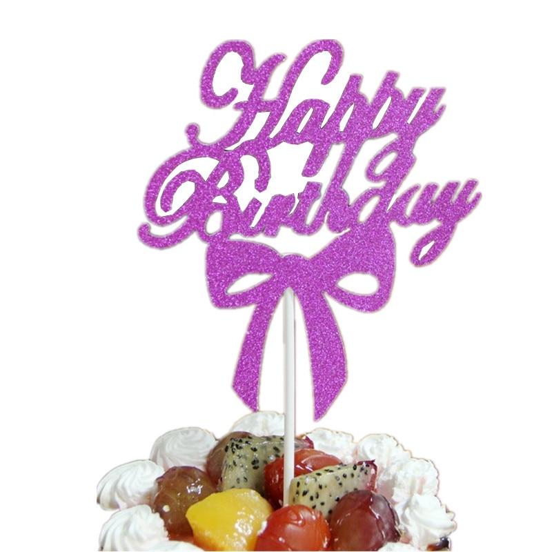 1 ud. Cartel para pastel Cupcake Feliz cumpleaños Topper Bowtie banderas para pastel doble palo para fiesta decoración de pastelería suministros de decoración