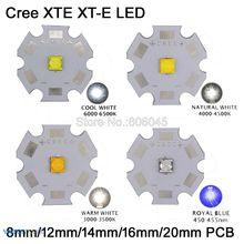20 pièces Cree XTE XT-E 5 W haute puissance émetteur de LED blanc chaud, blanc froid, blanc neutre et bleu Royal sur 8mm 12mm 14mm 16mm 20mm PCB