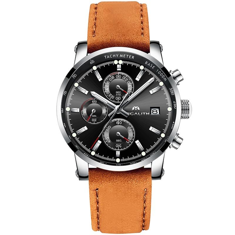 MEGALITH, gran oferta, Reloj de cuarzo mecánico de lujo para hombre, de vidrio con exquisito Reloj temporizador de cuero marrón, Reloj impermeable