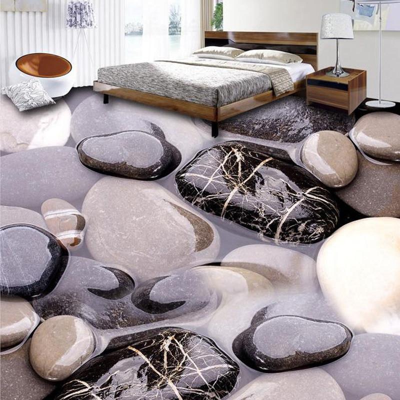 Papel pintado de suelo creativo de foto 3D personalizado Mural estereoscópico marrón y piedra blanca ropa de cama habitación antideslizante papel de pared autoadhesivo