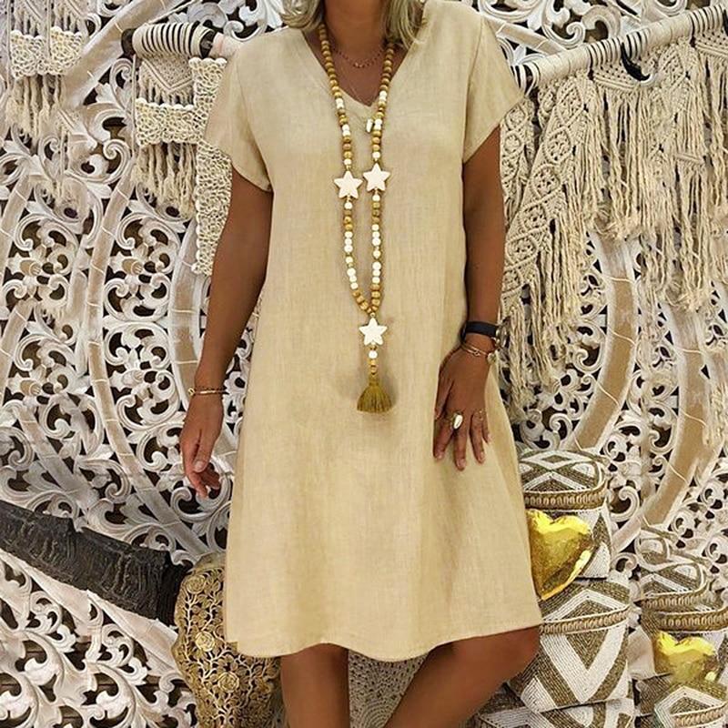 ¡Novedad de 2020! Vestido informal de lino y algodón con cuello en V para mujer, tallas grandes 5XL, Vestidos Vintage de color liso