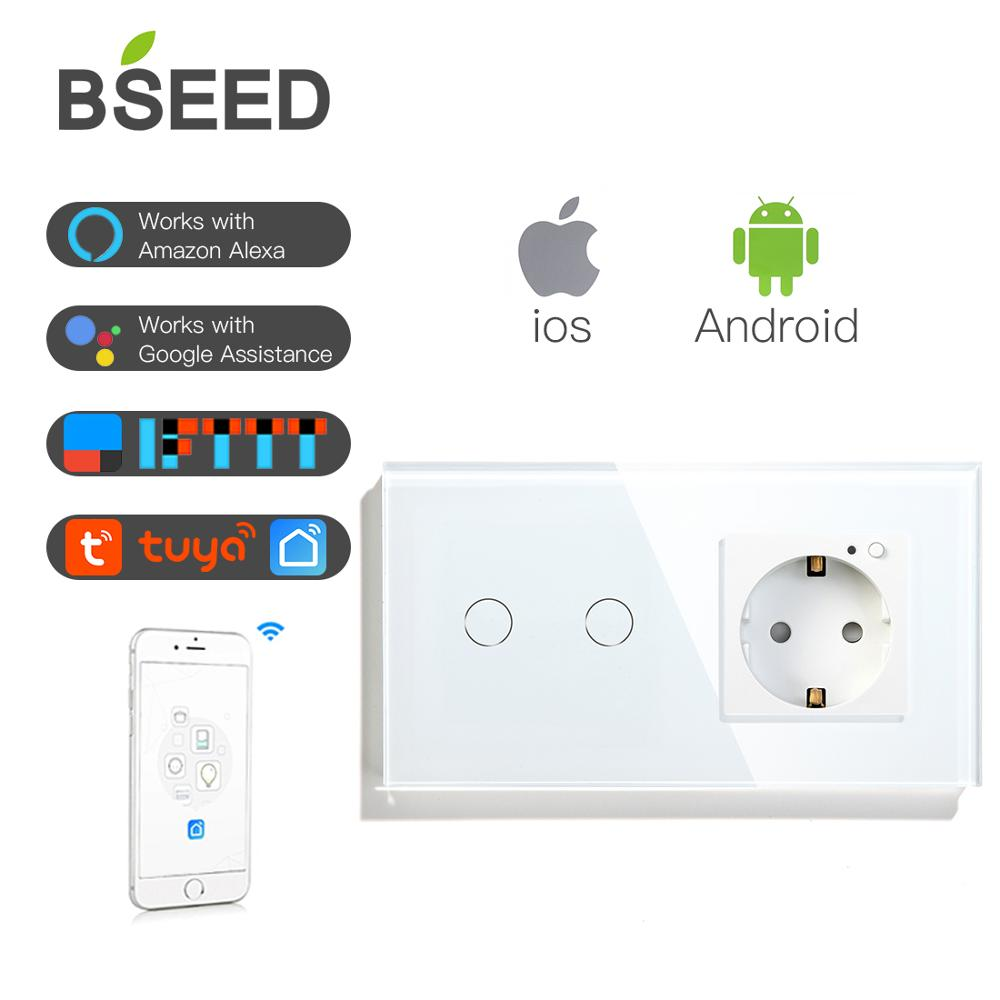 BSEED الذكية Wifi اللمس التبديل 2 عصابة 1 الطريقة مع الاتحاد الأوروبي المقبس 3 ألوان كريستال الزجاج لوحة العمل مع الذكية الحياة تويا التطبيق