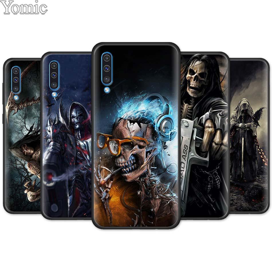 Grim Reaper Schädel Skeleton Schwarz Weichen Fall für Samsung Galaxy M11 M20 M21 M31 M40 M51 A50 A70 A40 A10 a20 A30s Silikon Abdeckung
