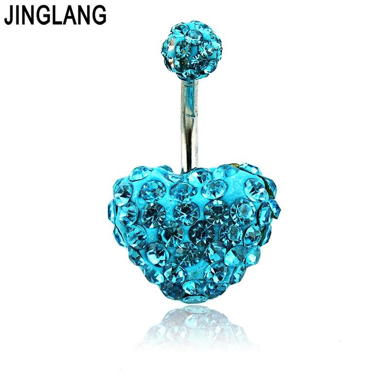 Оптовая цена! DIY абсолютно новые высококачественные 2 цвета модные кольца с кристаллами в форме сердца и пуговицами для живота Кольца для же...