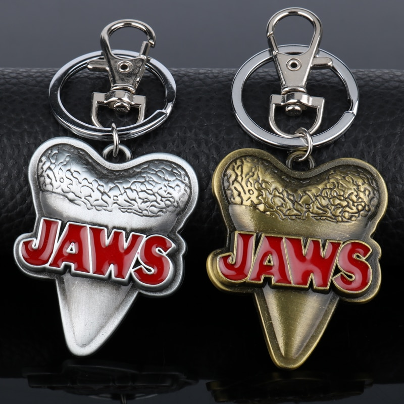 Tiburón mandíbula semana mandíbulas montar tiburón diente llavero película de terror joyería colgantes llavero de coche para bolsos
