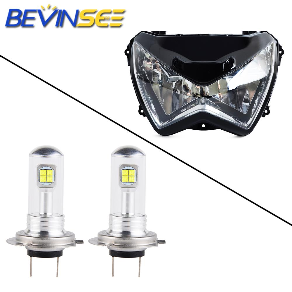 NICECNC, ensamblaje de faros delanteros bombillas LED para lámpara H7 para motocicleta 6500K para Kawasaki Z250 Z800 2013 2014-2016 Z300 2015-2016 Z 250 300
