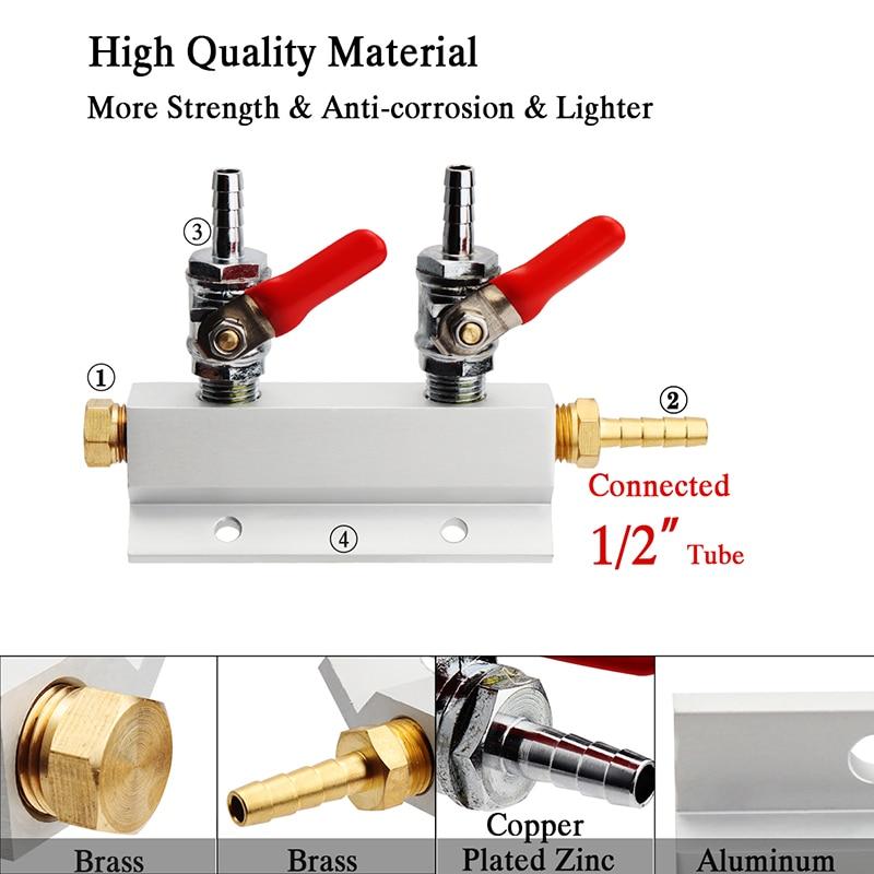 5/16'' Co2 Splitter Gas Manifold Distributor With Integrated Check Valve Gas Dispenser For Homebrew Beer Co2 Regulator Bar Tool