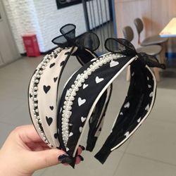 Pérolas de moda Talão rendas Pano Cabelo Hoop Headband Hairband para Mulheres Meninas Pequeno fresco estilo Faixa de Cabelo Acessórios Para o Cabelo