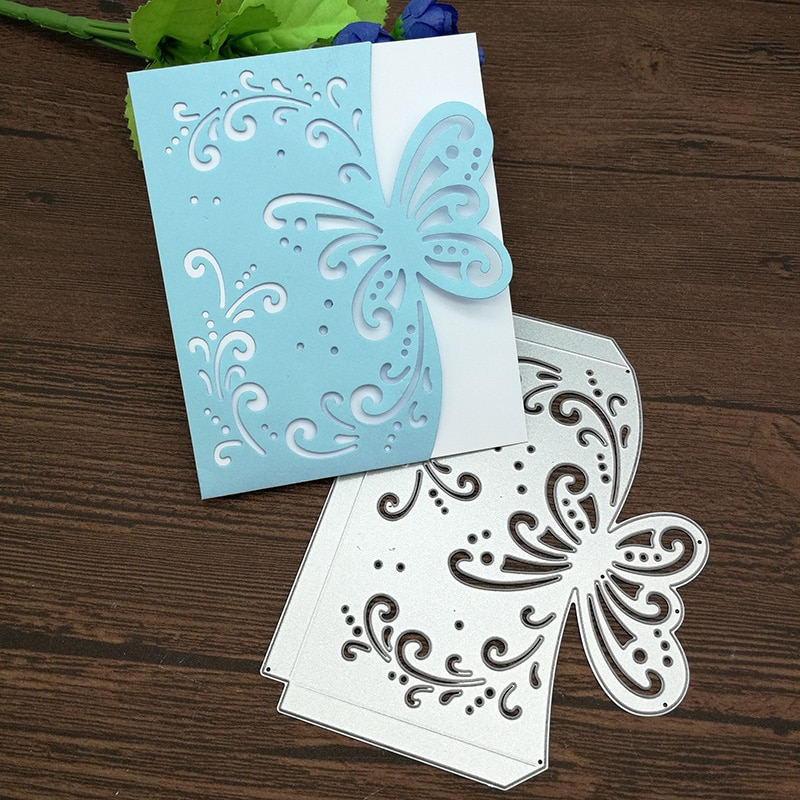 Borboleta envelope cartão de metal corte dados estêncil scrapbooking álbum de fotos cartão de papel gravação artesanato diy
