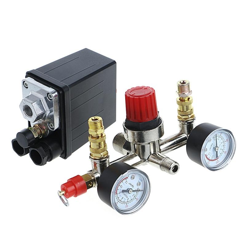 new air compressor pressures switch control valves manifold regulator gauge air compressor pressures switch 40 REGULATOR HEAVY DUTY Pump Pressure Air Compressor Control Switch + Valve Gauge - L057 New hot