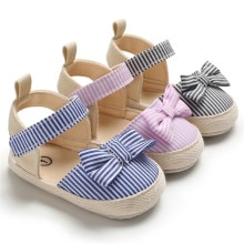 Hot Style Toddler Girl Crib Shoes Newborn Baby Bowknot  Striped Shoes Soft Sole Prewalker Sneakers