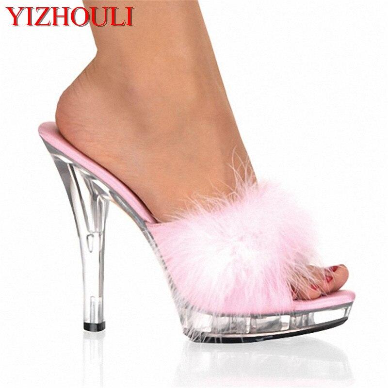 Sapatos de salto alto 13 cm stripper sapatos plump plumado sapatos de cristal quente sexy plataforma sandálias femininas
