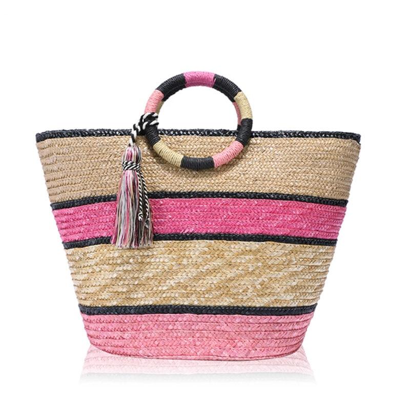 Women Braided Rainbow Beach Handbag Bamboo Basket Crossbody bag Woven Straw Shoulder bag Tassel Tote Bag