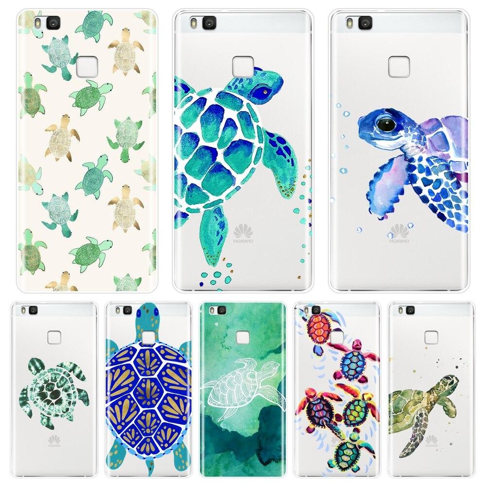 Capa de telefone azul tartaruga, para huawei p8 p9 lite mini 2017, silicone macio, tampa traseira para huawei p20 lite pro p9 p10 plus p inteligente