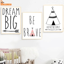 Toile dart murale en forme de flèche   Grande flèche de rêve, toile de peinture, affiches et imprimés nordiques, images murales de dessins animés, décor pour maison, chambre denfants pour bébés