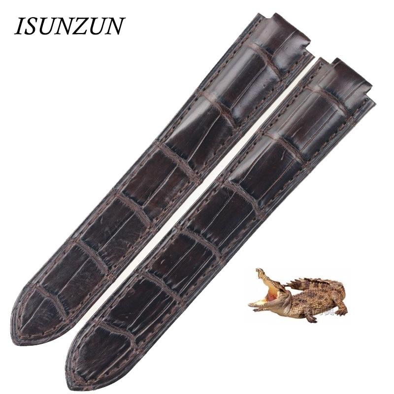 Ремешок для часов ISUNZUN, ремешок из натуральной кожи крокодила для женщин и мужчин