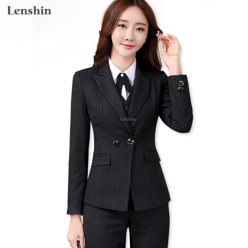 Lenshin 2 قطعة مجموعة عالية الجودة أسود لينة مخطط بانت الدعاوى مكتب سيدة الأعمال موحدة نمط المرأة العمل الرسمي ارتداء