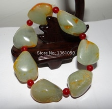Xd 00464 Natureza Chinês Hetian Jade Nephrite Cru Contas Pulseira Pulseiras dos homens