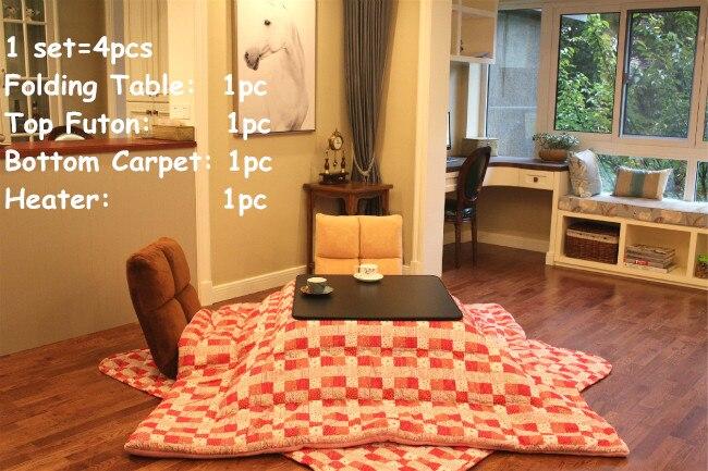 (4 teile/satz) tabelle Beine Foldabe Japanischen Kotatsu Set Tabelle Futon Heizung Wohnzimmer Möbel Reversible Top Beheizten Tisch Falten