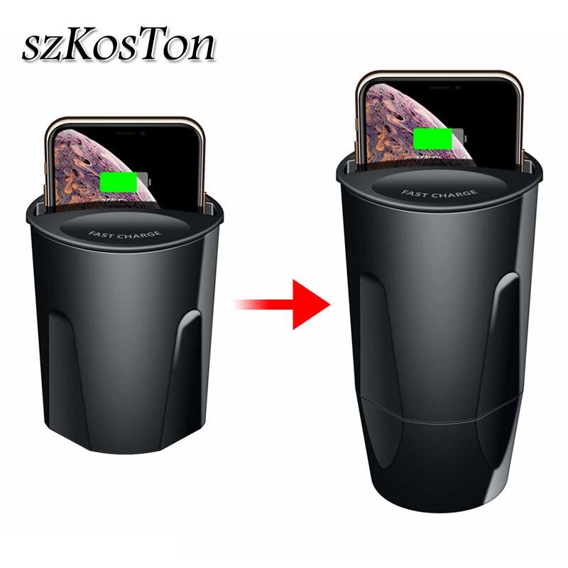 QI coche inalámbrico cargador para Samsung S9 S8 iPhone X XS X Max XR forma Copa USB rápido de tipo C cargador para Huawei Mate 20 Pro RS cargador