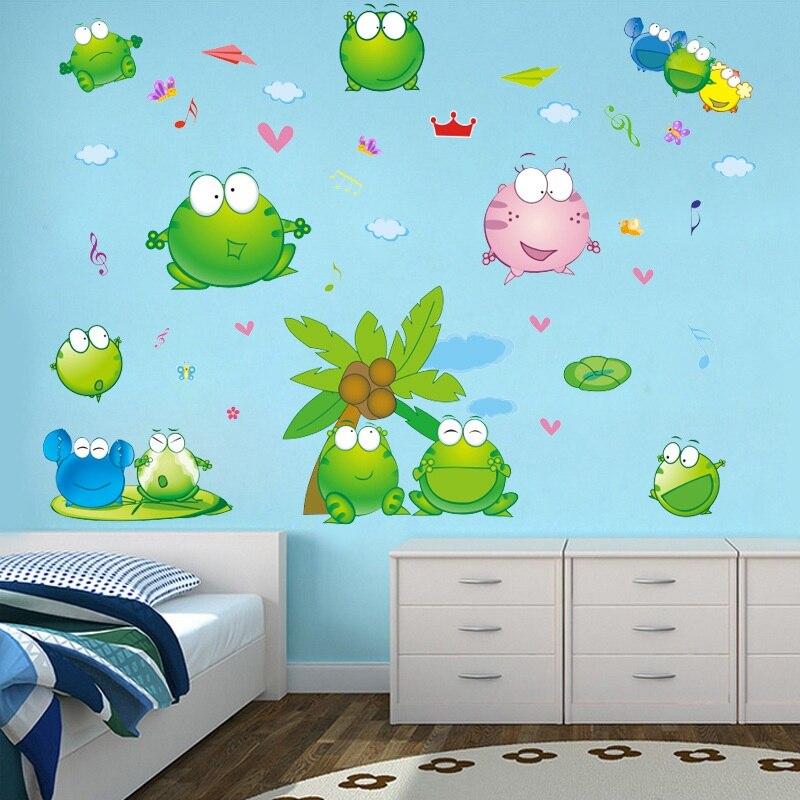 Zs ملصق 90*110 سم/35*43 بوصة الضفدع غرفة الاطفال الحضانة الحمام صور مطبوعة للحوائط الطفل الفينيل ملصقات جدار