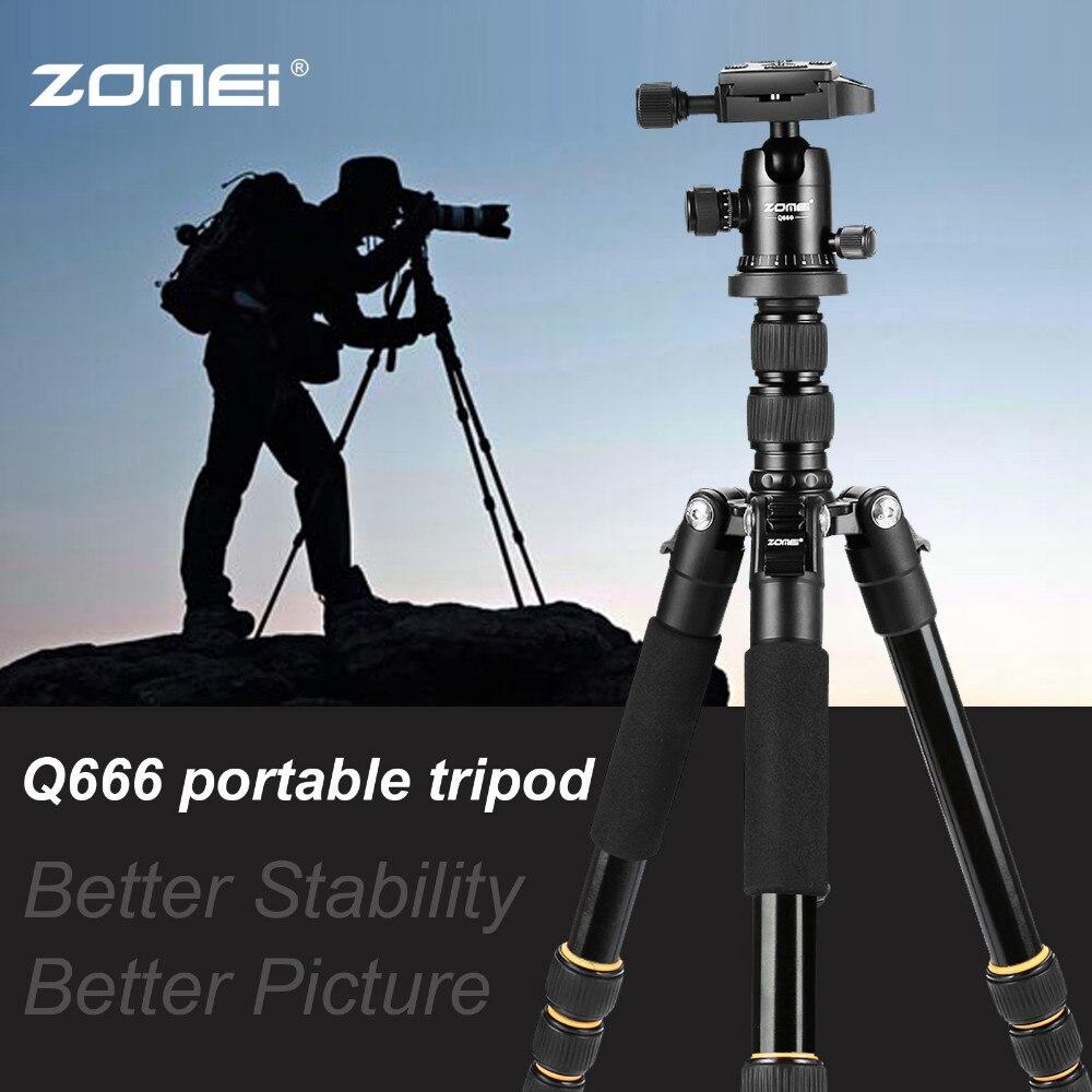 Cadiso léger Portable Q666 professionnel voyage caméra trépied monopode aluminium tête à bille compact pour appareil photo numérique DSLR