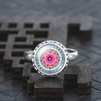 classic silver color real solid 925 sterling silver ring om symbol buddhism zen picture ring