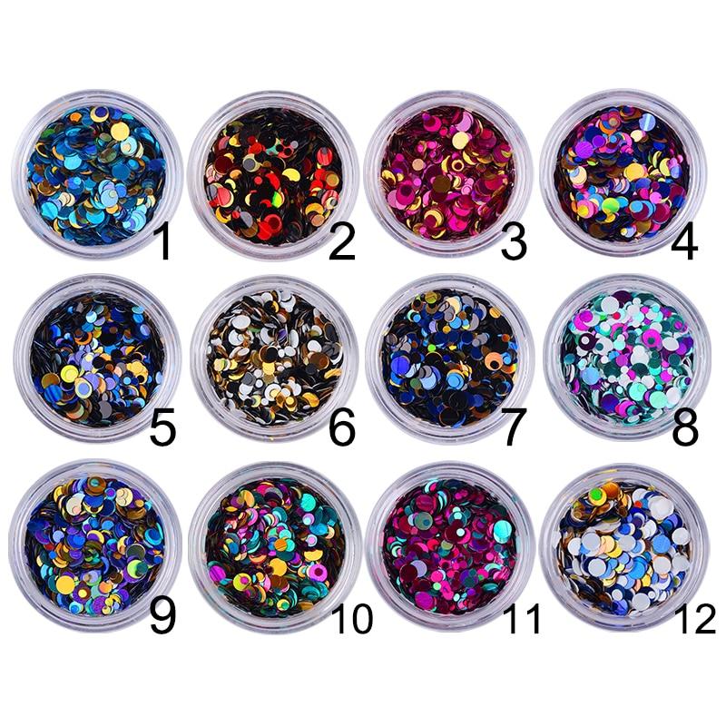 12 colores paillette de brillo, lentejuelas redondas coloridas para decoración de uñas