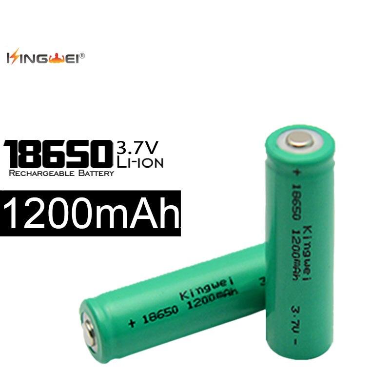 Realmente capacidad KingWei luz verde 18650 1200mah 3,7 v batería de iones de litio 18650 batería recargable de litio para banco de energía
