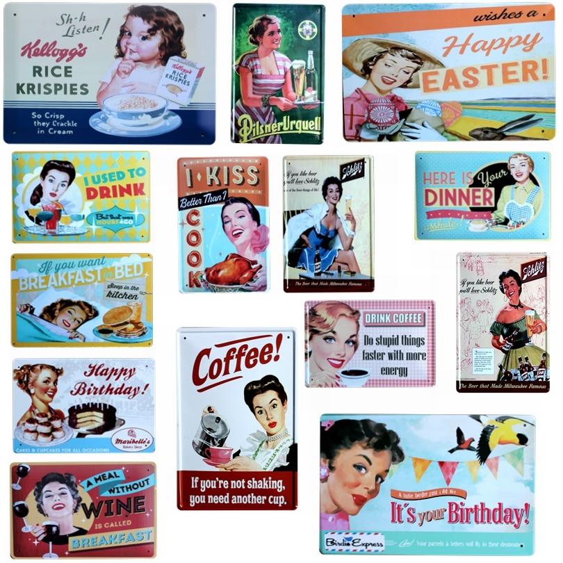 Coffee Wine kitchen Metal Plate Tin Signs Hotel Home Art Shop Cafe Pub Decor Iron Poster Cuadros Wall sticker 30X20CM A-5034B