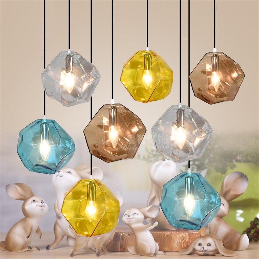 Modern Colorful Crystal LED Chandelier Art Glass Stone Pendant Lamps E14 Base Indoor Lighting Hanging Lamp Dining Room Bar Deco
