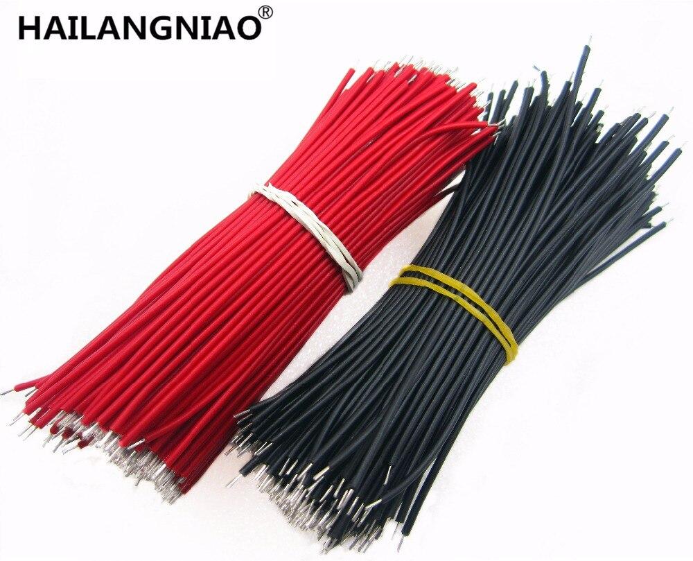 1000 Uds cable de puente de placa de pruebas Fios Estanhado 0,96 cm cable negro y rojo