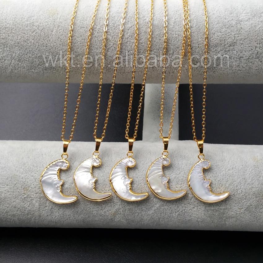 WT-N914 de encargo al por mayor Natural exclusivo tallado collar de perlas de agua dulce, 24 k oro media luna collar de cadena de la perla de