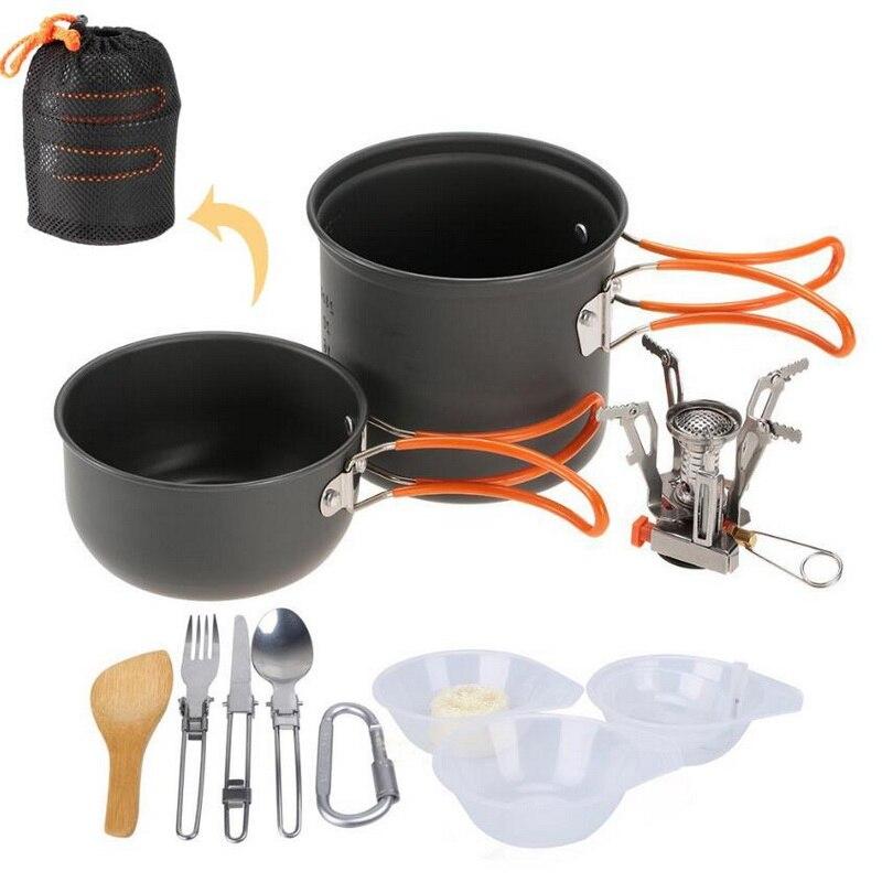 Campismo survival utensílios de mesa. 2 pessoas ao ar livre portátil acampamento conjunto pot. Frigideira, frigideira, tigela, panelas selvagens, queimador