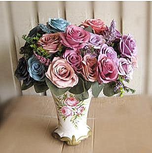 [11] fork manufacturer promotions C rose color combination of high-grade raw silk flower simulation ultra-affordable