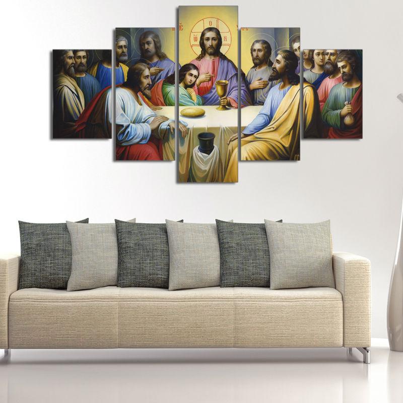 A Última Ceia Jesus 5 Peças Da Arte Da Lona Pintura Retro Decoração de Casa Retrato Da Parede para Sala Cartazes e Cópias nenhum Quadro