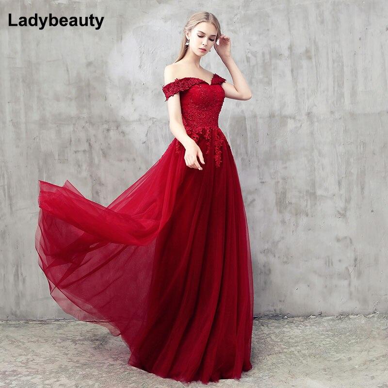 Ladybeauty-فستان سهرة طويل مطرز بالخرز ، ملابس دانتيل أنيقة ، رقبة قارب ، مأدبة ، فستان سهرة رسمي مثير ، مجموعة جديدة 2018