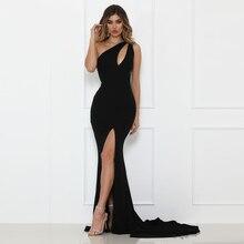 Split Vorder One Schulter Meerjungfrau Maxi Kleid Party Kleid Aushöhlen Backless Elegante Sexy Langes Kleid