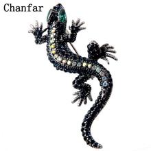 Chanfar Vintage Crystal Paved Gecko Brooches Lizard Animal Brooch Pins For Women Men Dress Hat Jewel