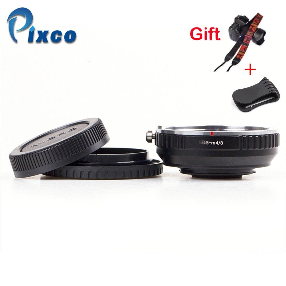 Pixco pour EOS-M 4/3 réducteur de focale combinaison douverture intégrée pour Canon EF monture objectif à Micro 4/3 + capuchon dobjectif u-clip + sangles de caméra
