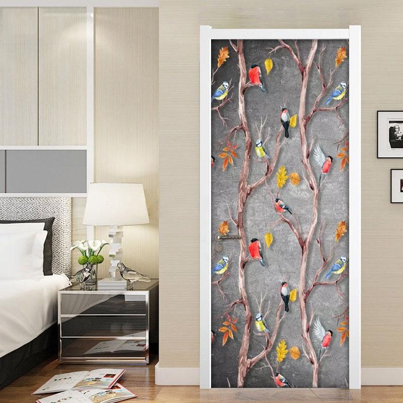Hand Painted Cartoon Flower Bird Mural Wall Painting Living Room Bedroom Door Decoration Stickers Self-adhesive Vinyl Wall paper