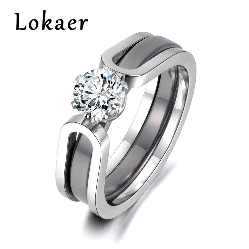 Lokaer 2 capas negro/blanco de cerámica anillos de boda con cristal joyería AAA circonio de acero inoxidable de diamantes de imitación de R18071