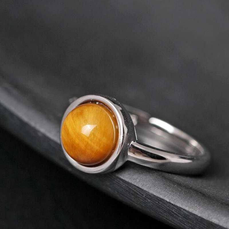Ruifan, anillo de gemas de ojo de tigre Natural de Color marrón ajustable, anillos de plata auténtica 925 para mujeres, chicas, joyería fina YRI107