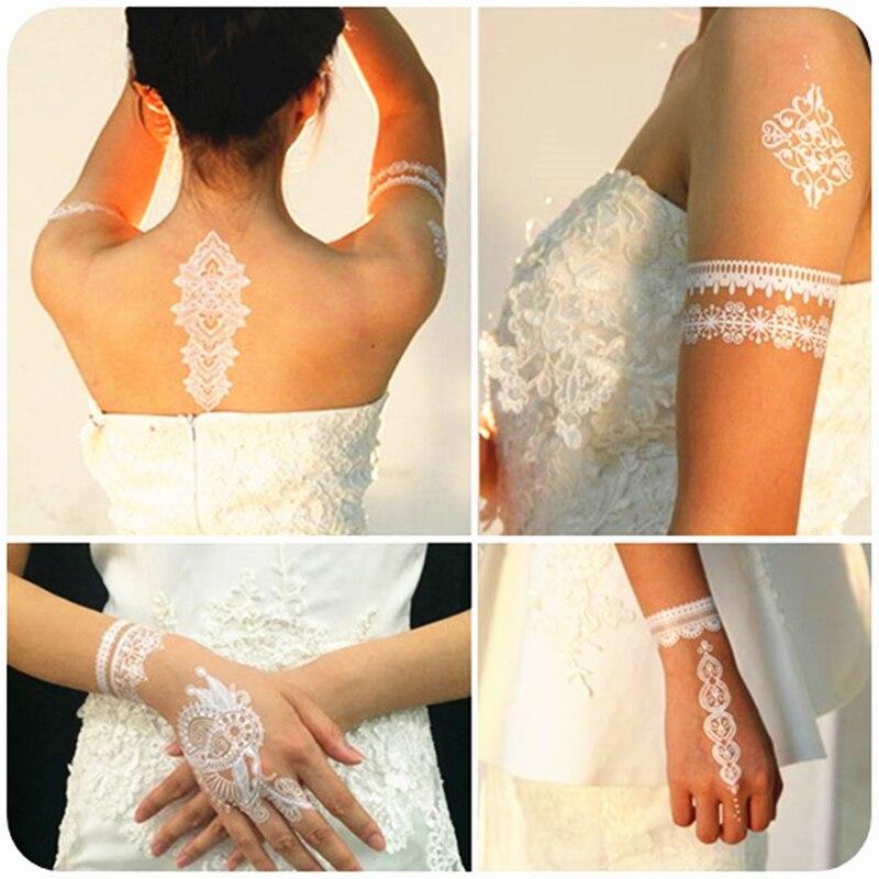Casamento noiva estilo branco laço temporária tatuagem arte do corpo flash tatuagem adesivos 21*15cm à prova dwaterproof água henna tatoo adesivo de parede