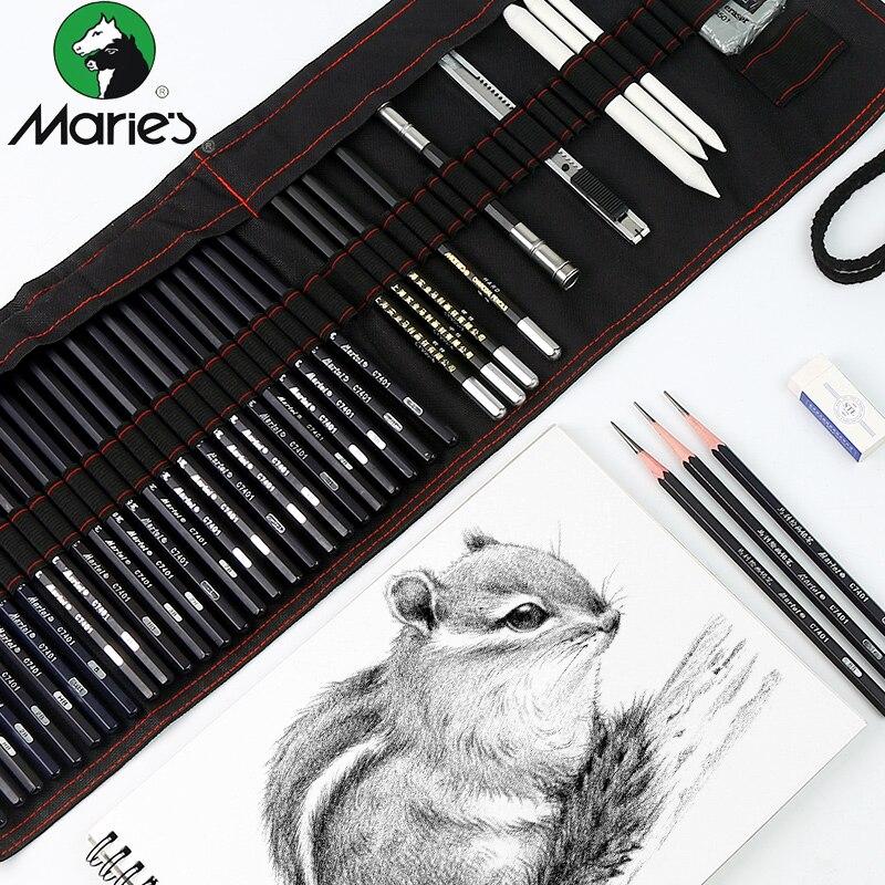 Sketch, conjunto de lápiz pintura carbono herramienta pluma cortina arte suministros conjunto completo de aprendizaje del estudiante conjunto