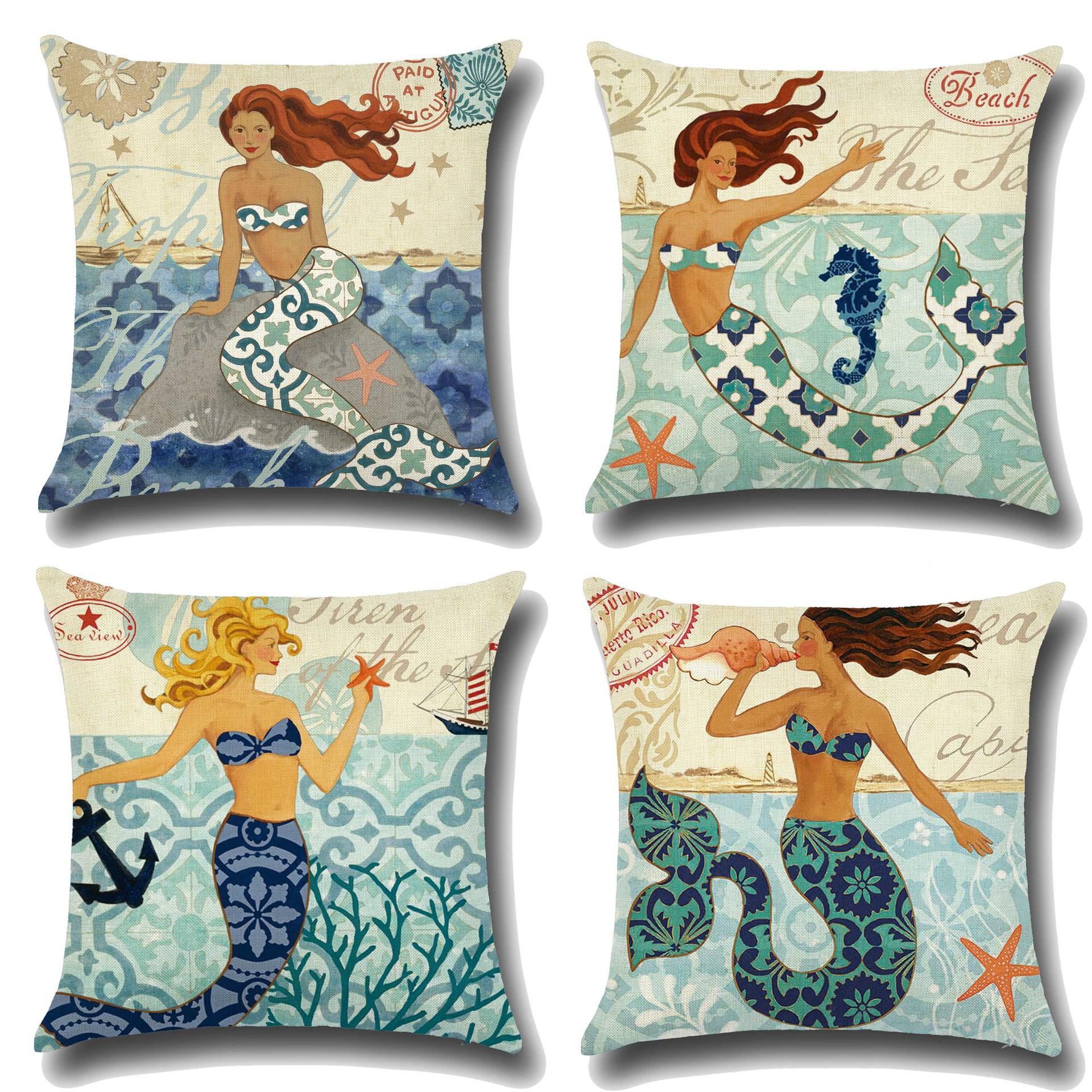 Hand-Painted European Classical Mermaid Prints Cushion Cover Linen Throw Pillow Car Home Decoration Decorative Pillowcase