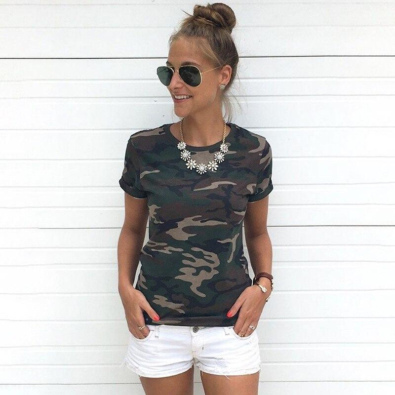 Playera de moda para damas Blusa Tumblr camuflaje estampado Tops manga corta mujeres camiseta Militar Uniforme Casual camisetas