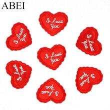 10 قطعة/الوحدة مطرز بقع الحديد على أحبك زين الأحمر الحب القلب diy خياطة الملابس شارة اليدوية الملابس الجينز ملصقات