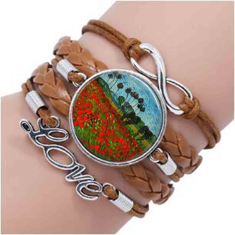 Bracelet de champ de coquelicot Van Gogh, bracelet de ferme van gogh coquelicots, bracelet de fleur de coquelicot Van Gogh, bijoux Van Gogh, vintage